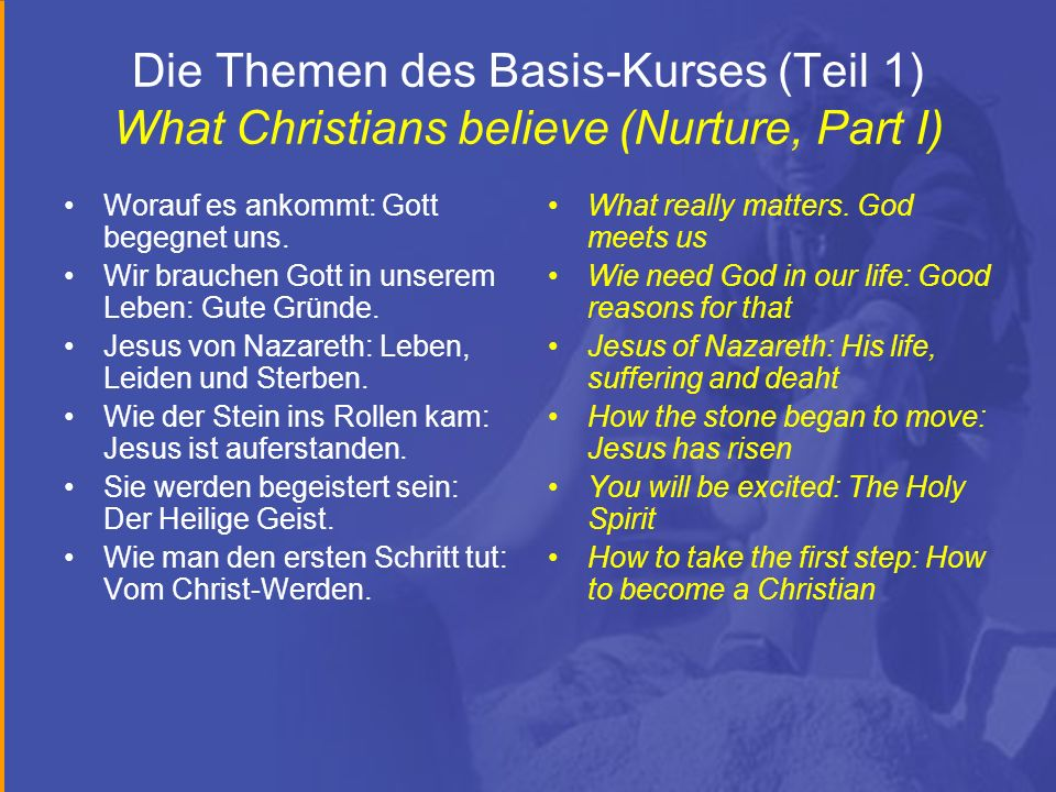 Die Themen des Basis-Kurses (Teil 1) What Christians believe (Nurture, Part I)