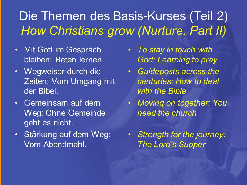 Die Themen des Basis-Kurses (Teil 2) How Christians grow (Nurture, Part II)