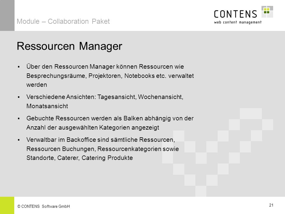 Ressourcen Manager Module – Collaboration Paket