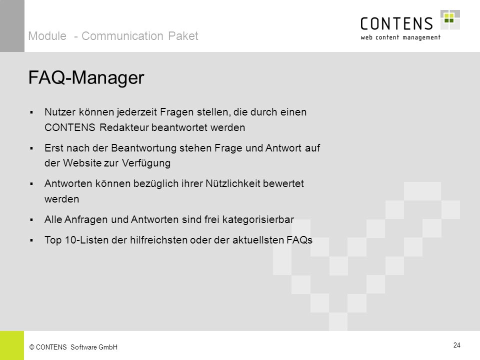 FAQ-Manager Module - Communication Paket
