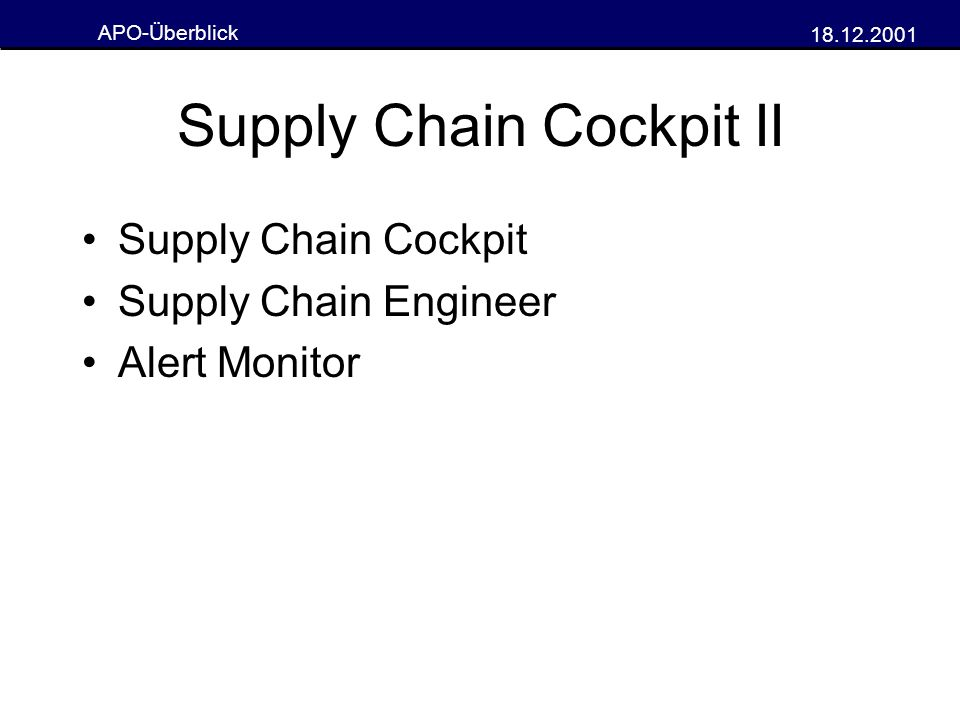Supply Chain Cockpit II