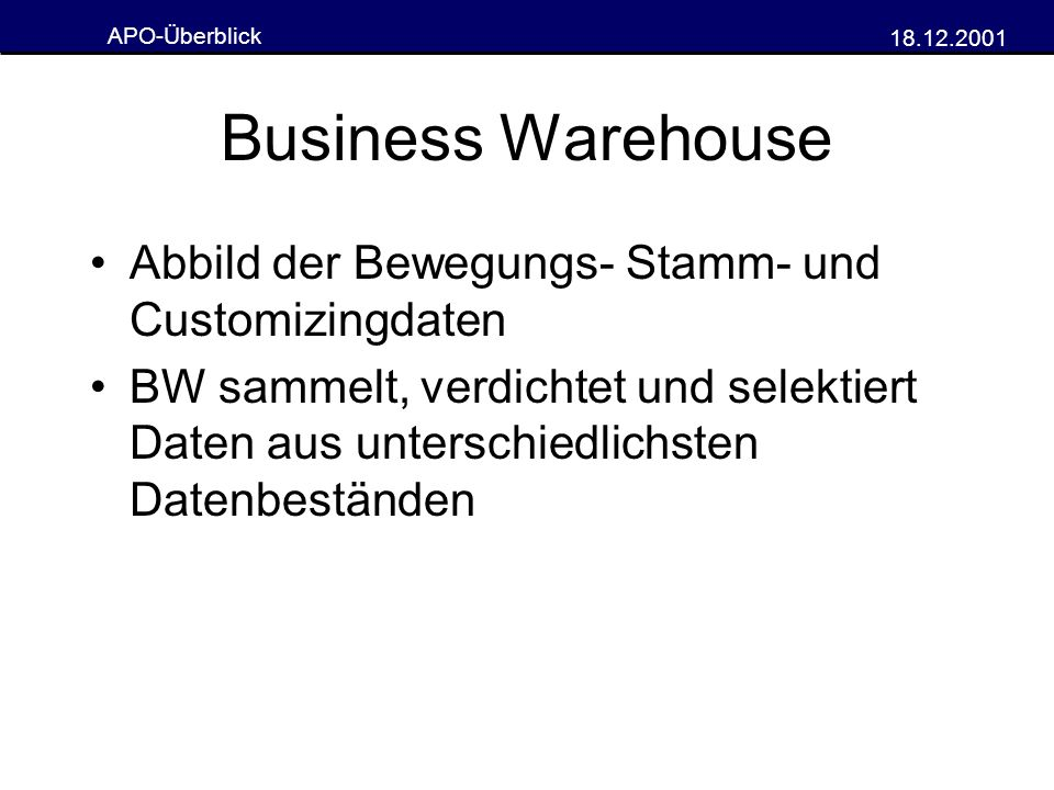 Business Warehouse Abbild der Bewegungs- Stamm- und Customizingdaten