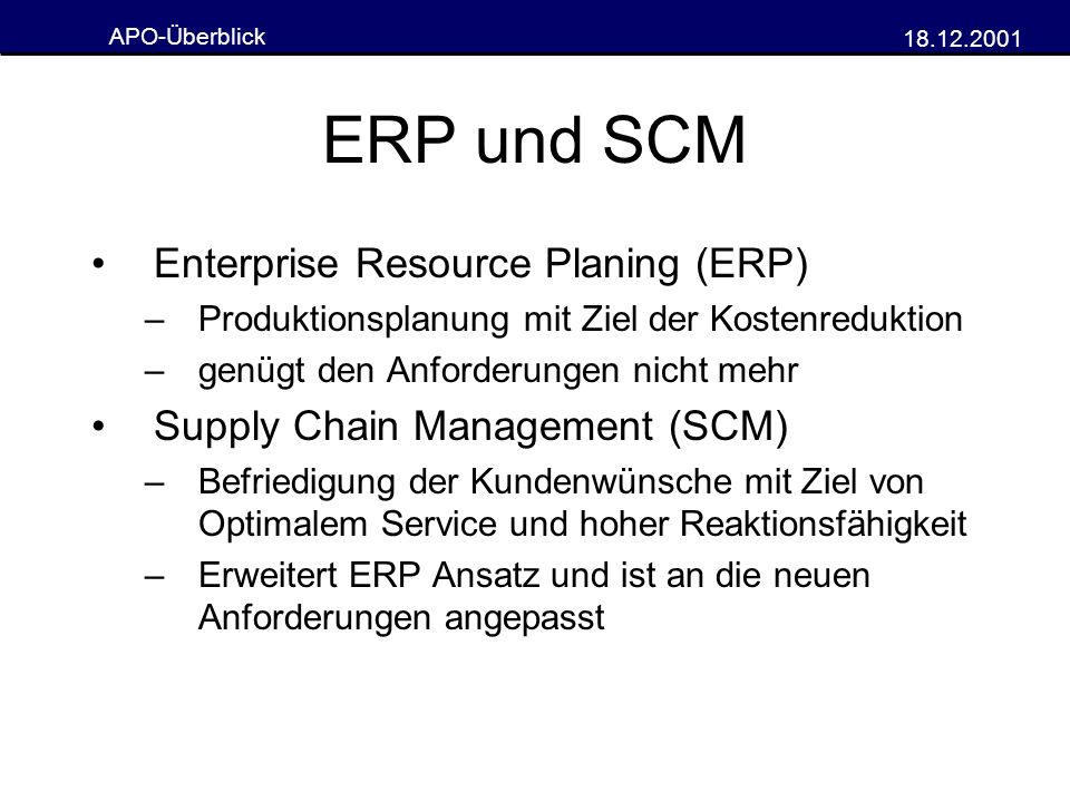 ERP und SCM Enterprise Resource Planing (ERP)
