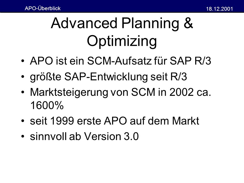 Advanced Planning & Optimizing