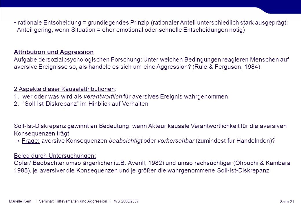 Attribution und Aggression