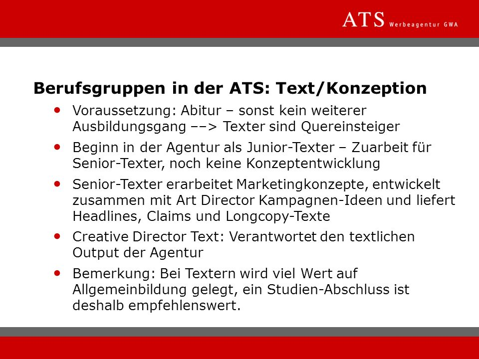 Berufsgruppen in der ATS: Text/Konzeption