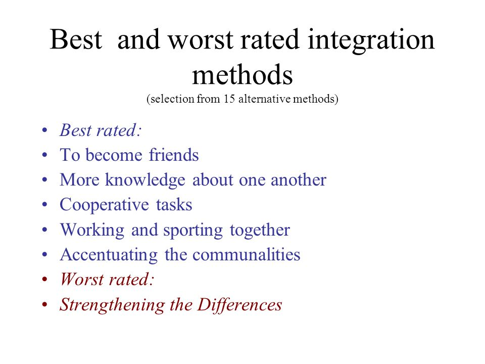 Best and worst rated integration methods (selection from 15 alternative methods)