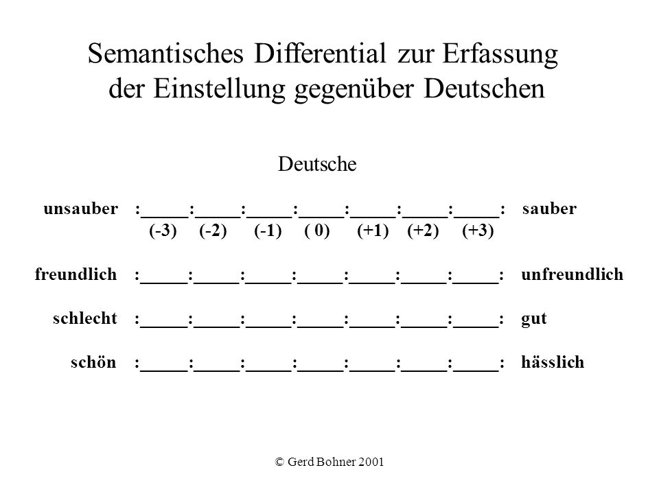 Semantisches Differential zur Erfassung