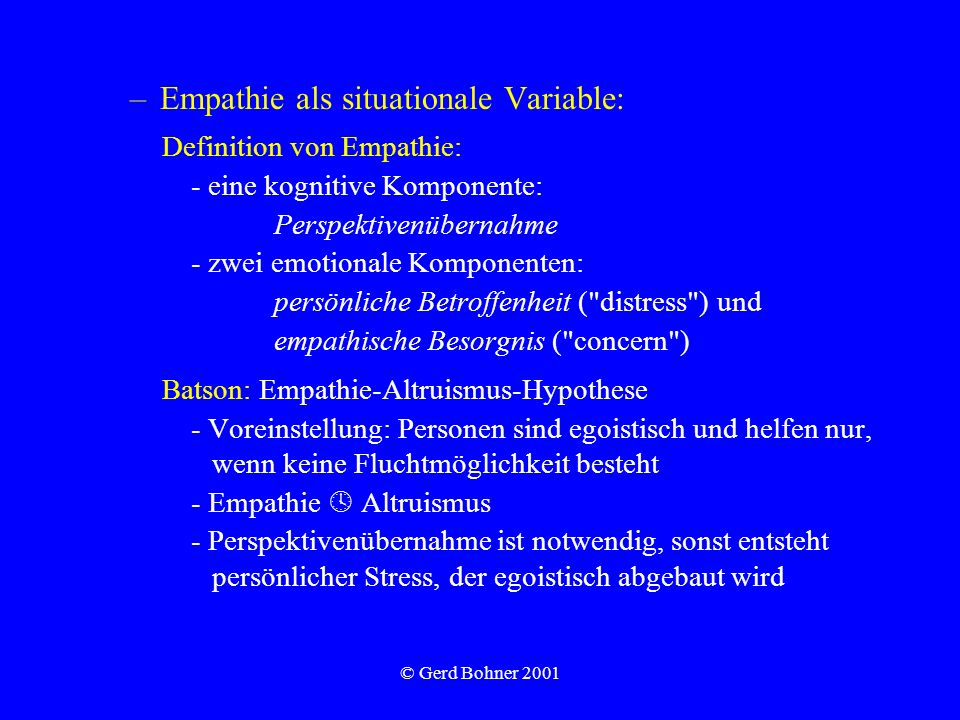 Empathie als situationale Variable:
