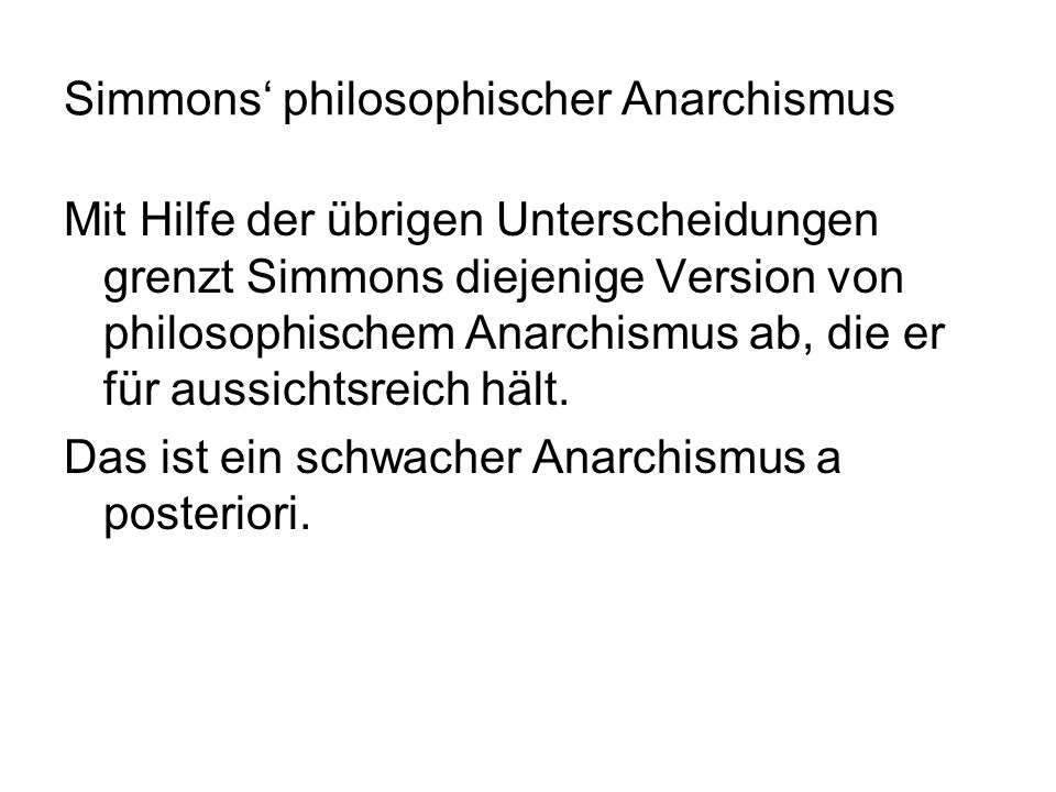 Simmons' philosophischer Anarchismus