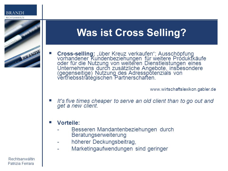 27. November 2009 Was ist Cross Selling