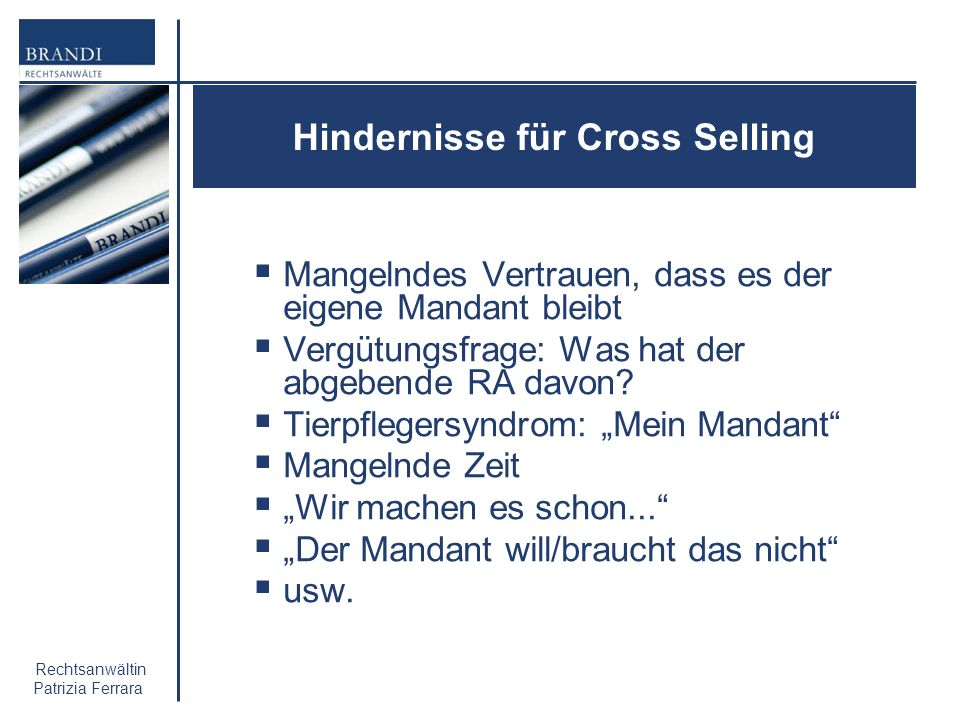 Hindernisse für Cross Selling