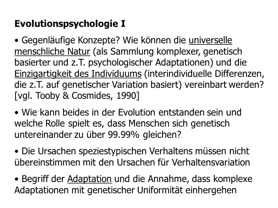 Evolutionspsychologie I