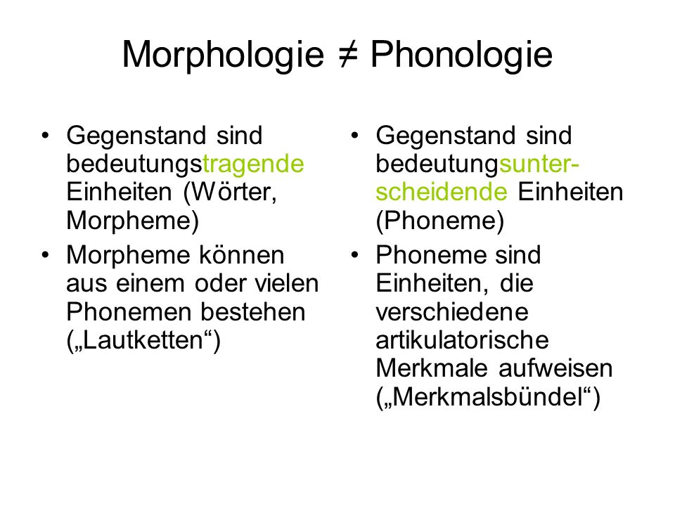 Morphologie ≠ Phonologie