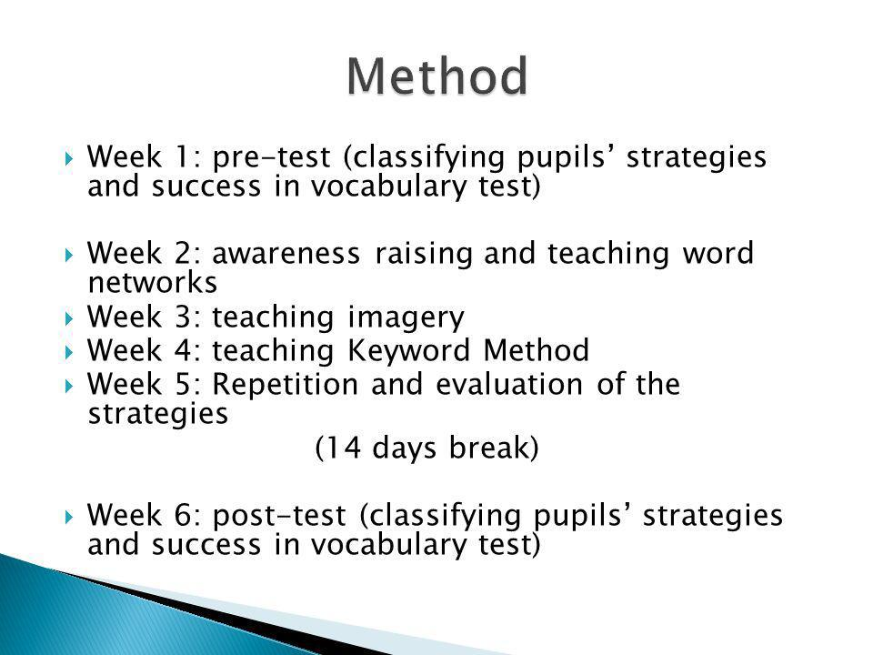 Method Week 1: pre-test (classifying pupils' strategies and success in vocabulary test) Week 2: awareness raising and teaching word networks.