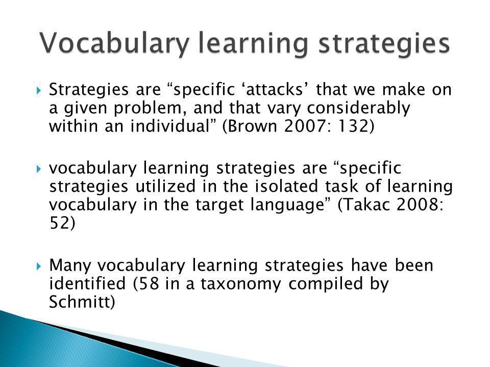 Vocabulary learning strategies