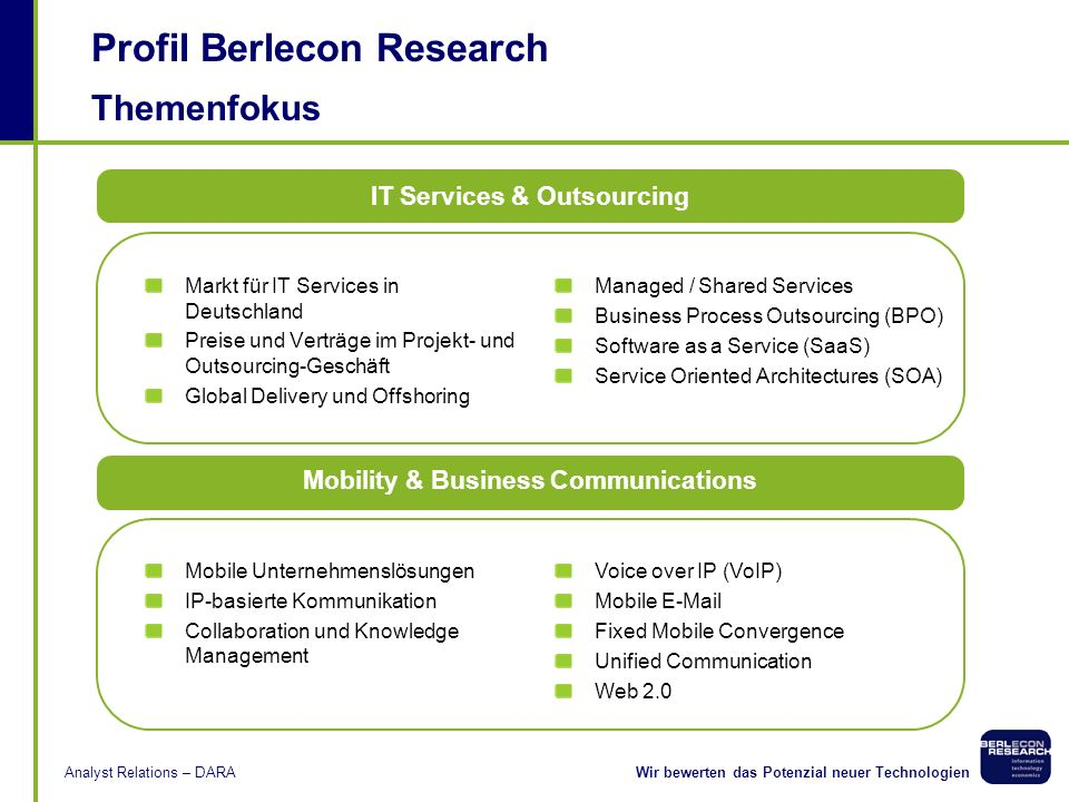 IT Services & Outsourcing Mobility & Business Communications