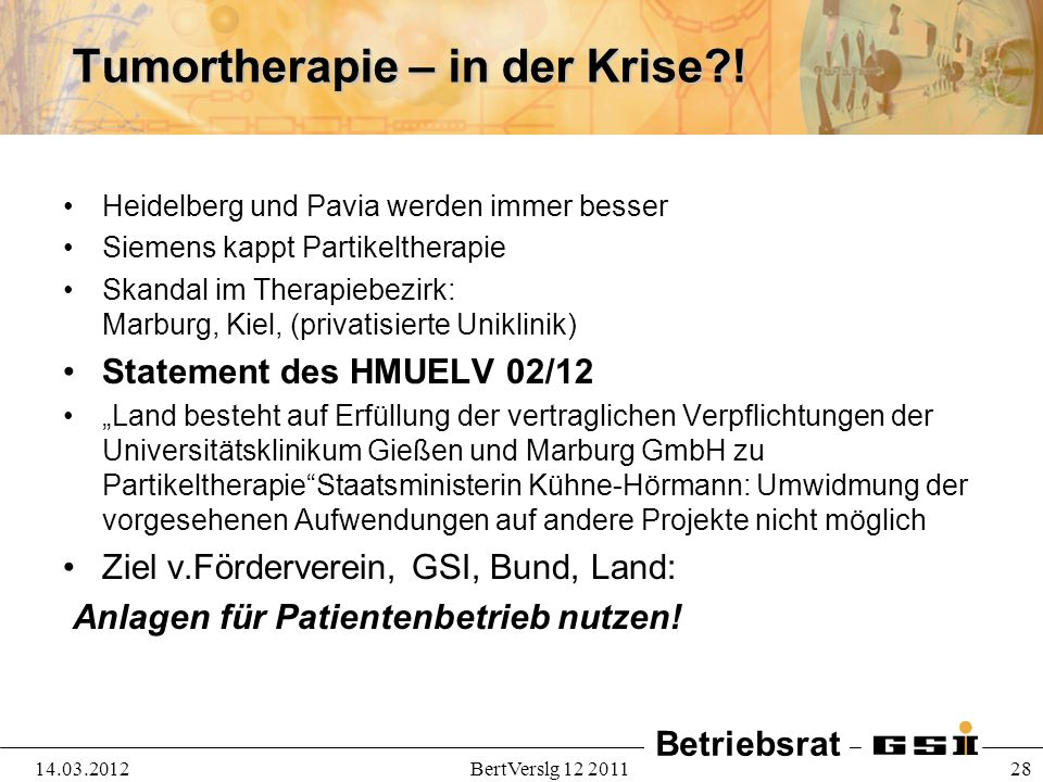 Tumortherapie – in der Krise !