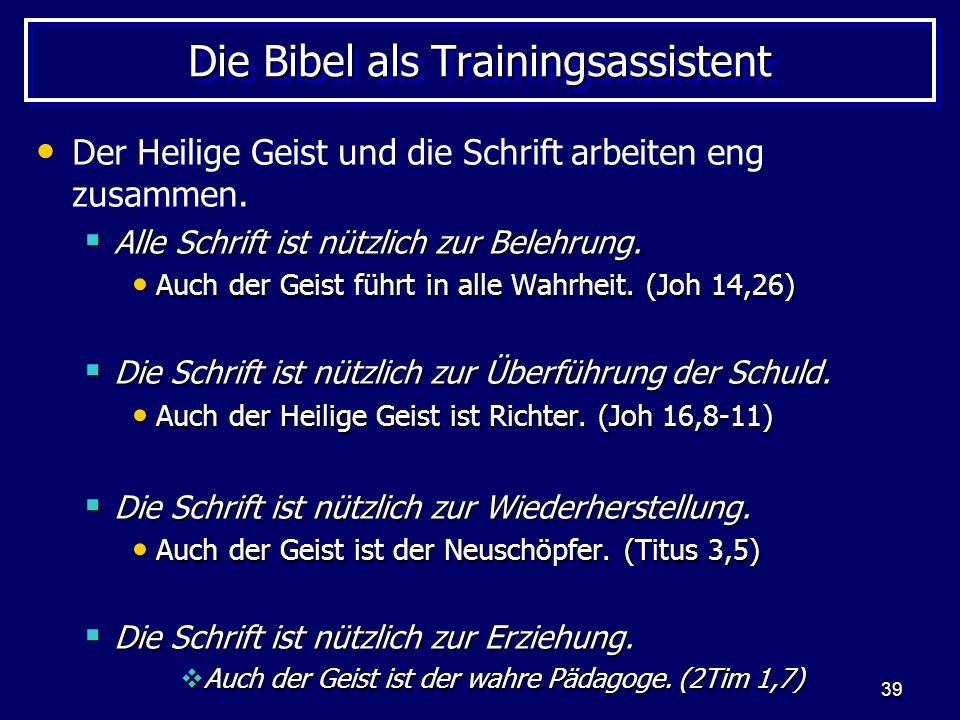 Die Bibel als Trainingsassistent