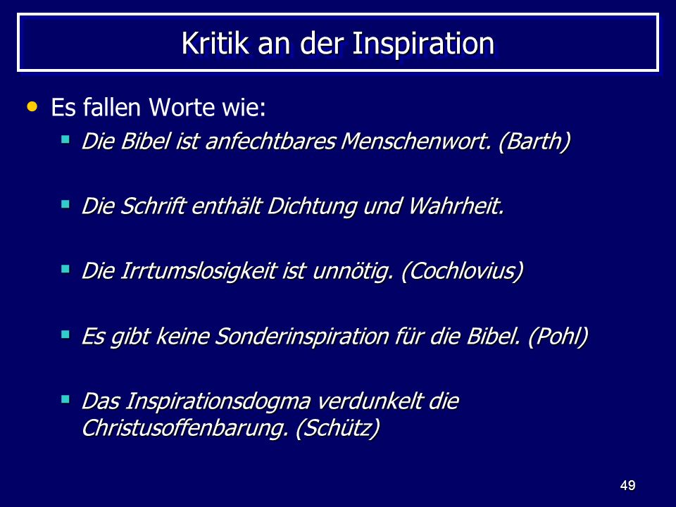 Kritik an der Inspiration