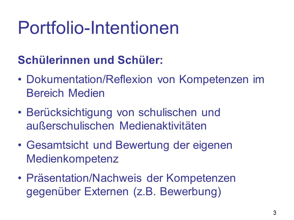 Portfolio-Intentionen