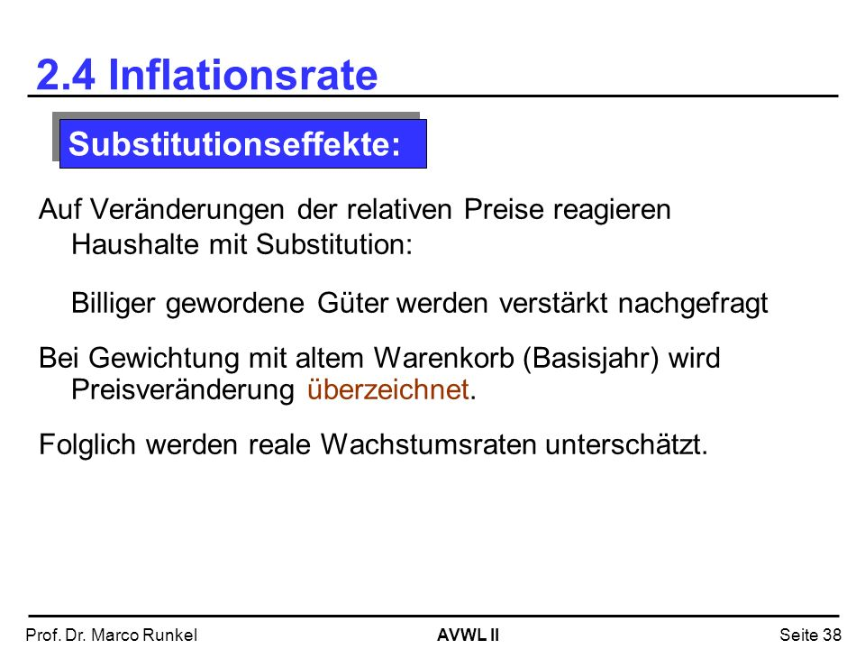 2.4 Inflationsrate Substitutionseffekte: