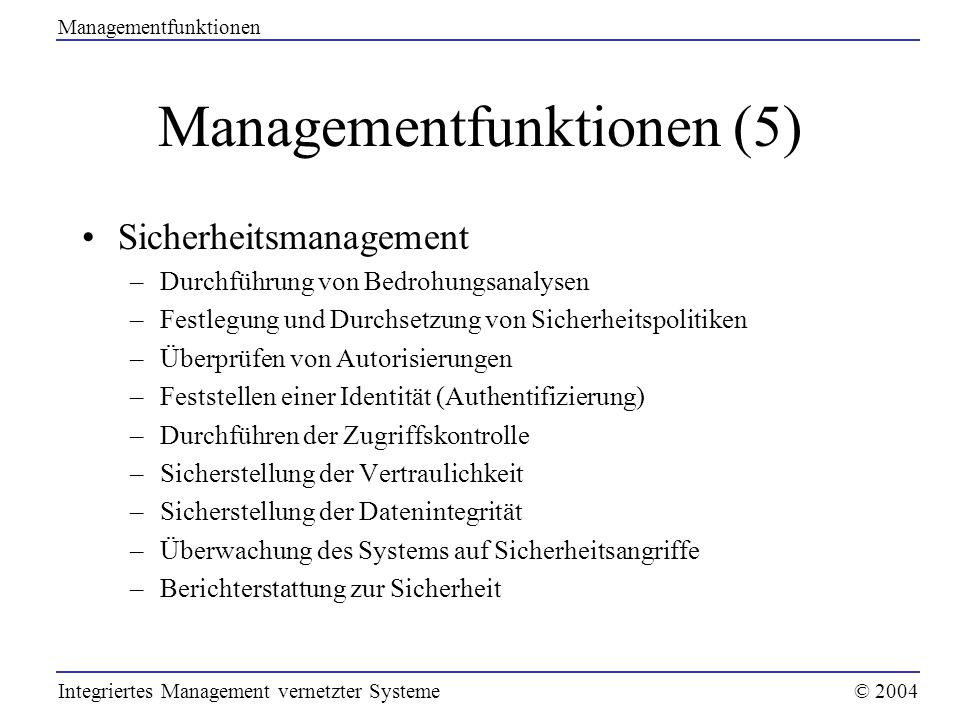 Managementfunktionen (5)