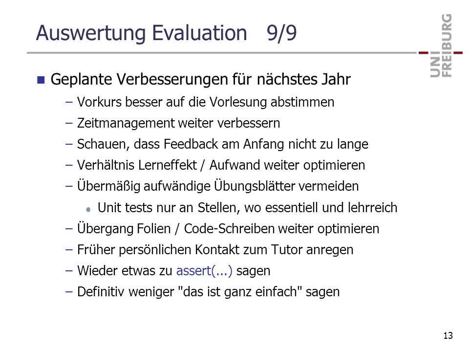 Auswertung Evaluation 9/9