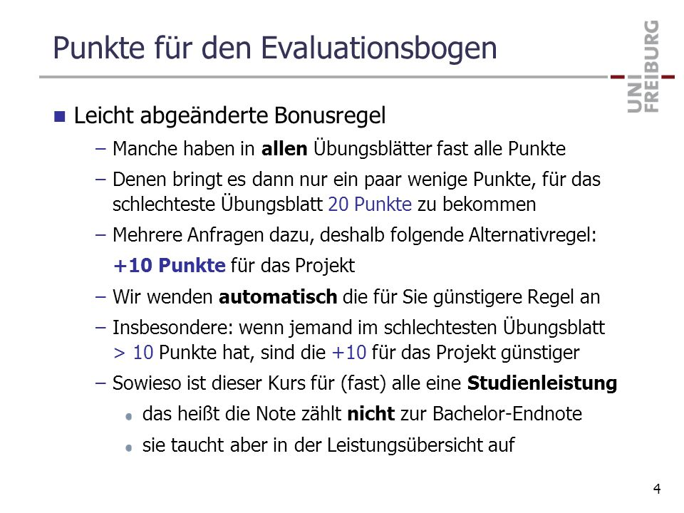 Punkte für den Evaluationsbogen