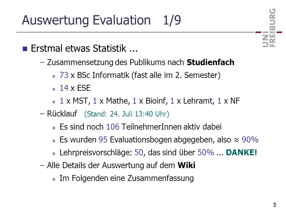 Auswertung Evaluation 1/9