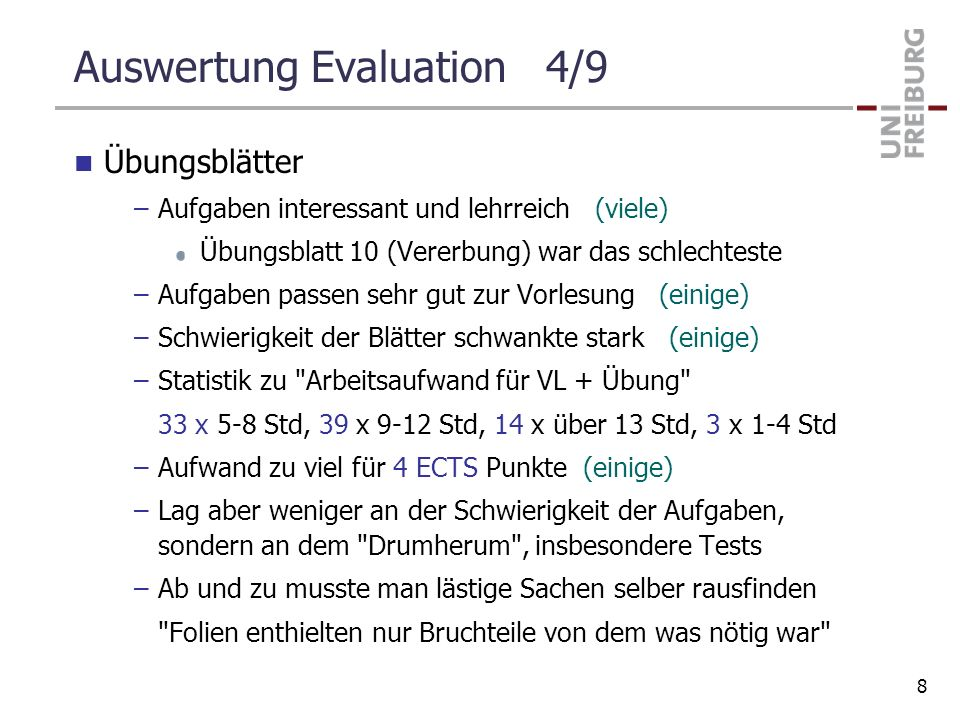 Auswertung Evaluation 4/9