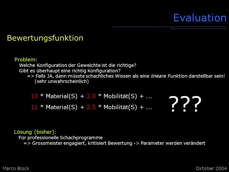 Evaluation Bewertungsfunktion
