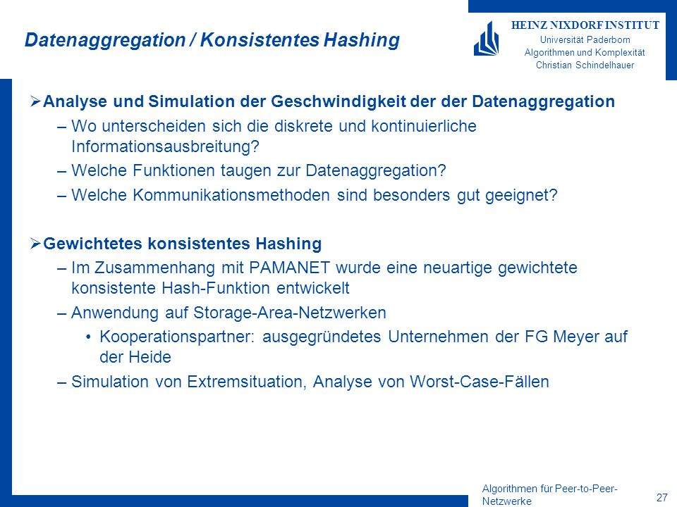 Datenaggregation / Konsistentes Hashing