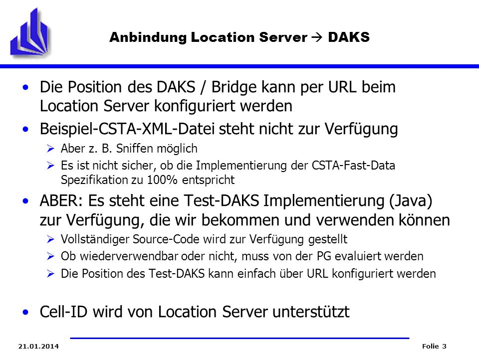Anbindung Location Server  DAKS