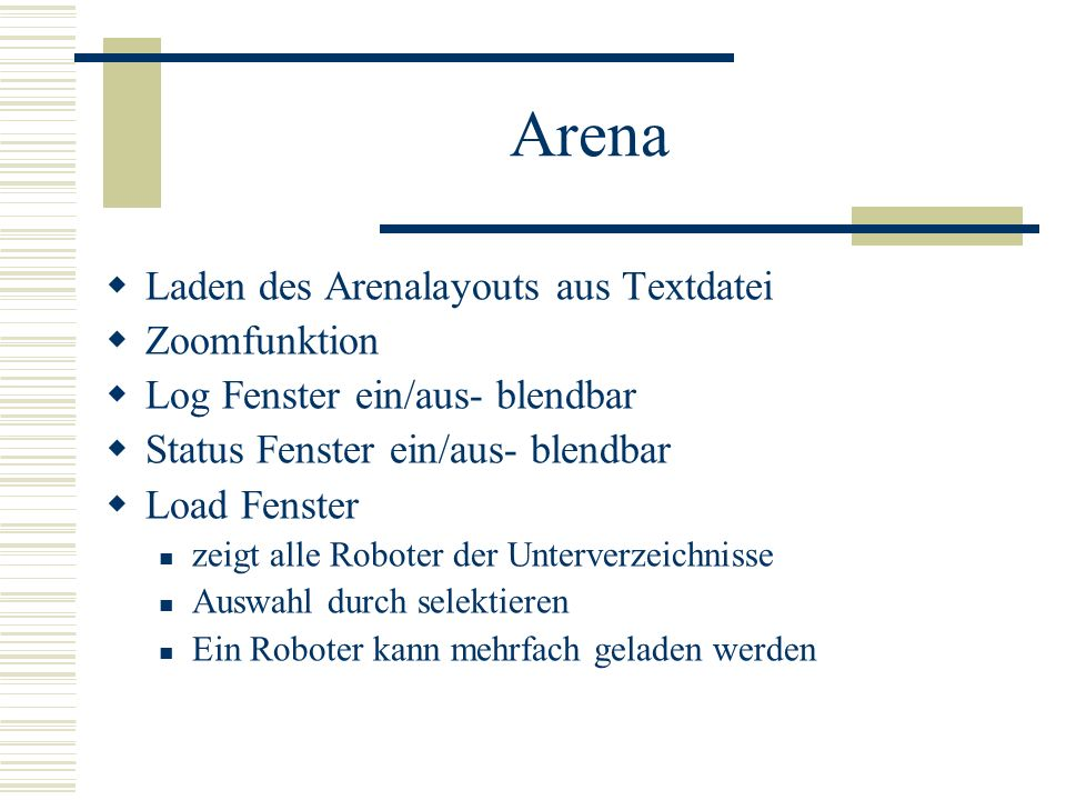 Arena Laden des Arenalayouts aus Textdatei Zoomfunktion