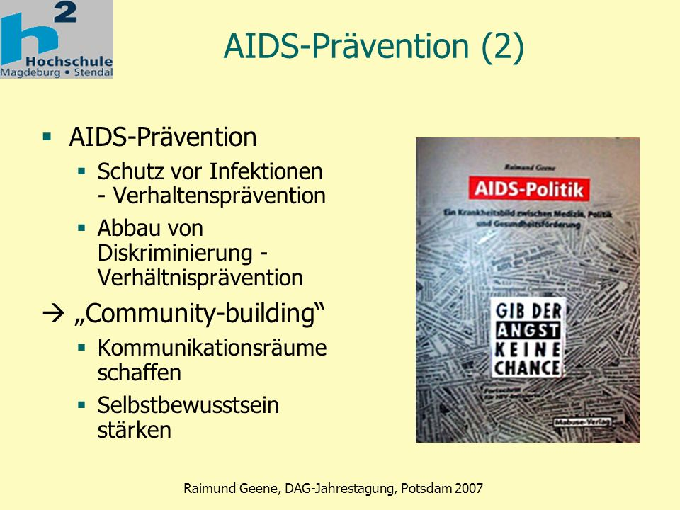 "AIDS-Prävention (2) AIDS-Prävention  ""Community-building"