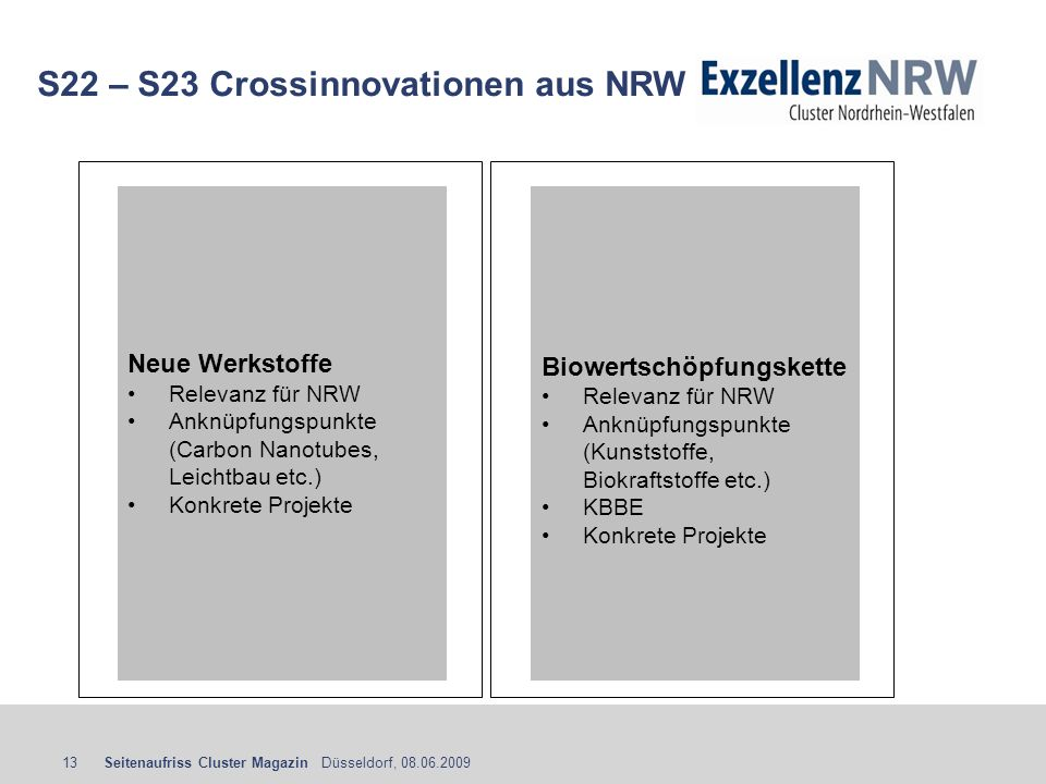 S22 – S23 Crossinnovationen aus NRW