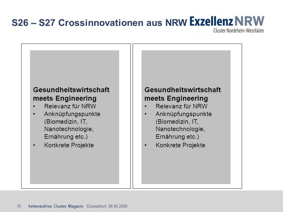 S26 – S27 Crossinnovationen aus NRW
