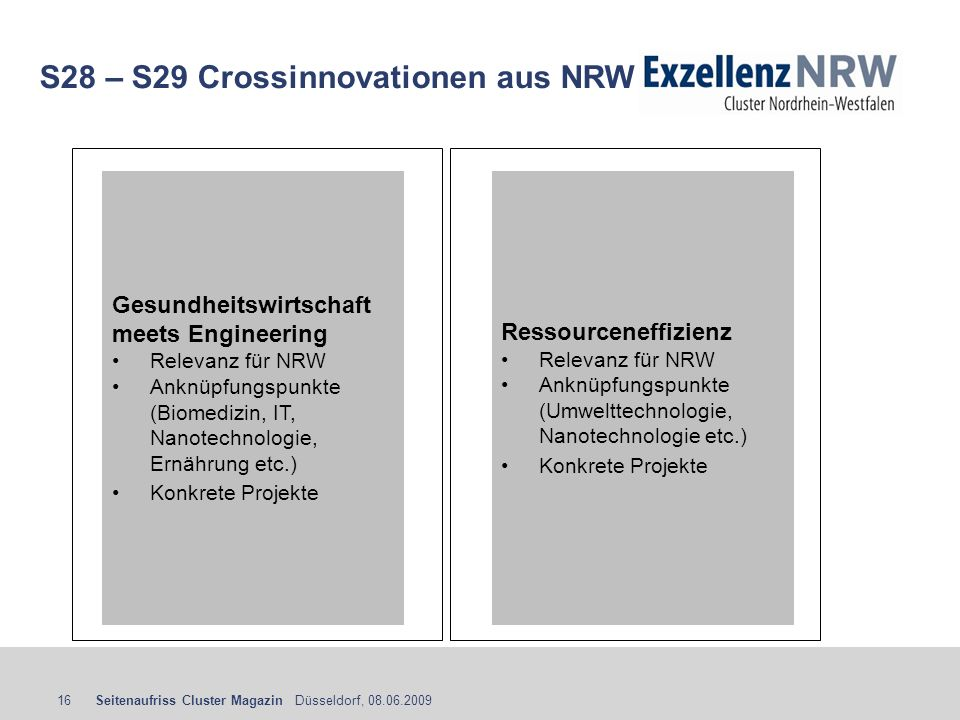 S28 – S29 Crossinnovationen aus NRW