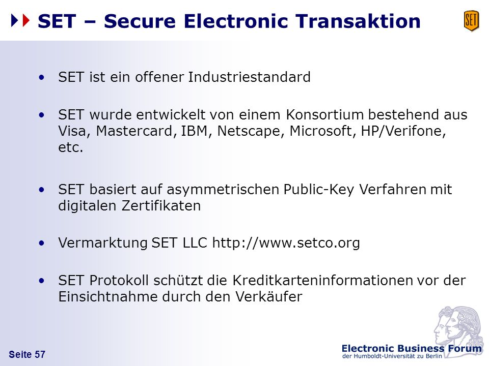 SET – Secure Electronic Transaktion
