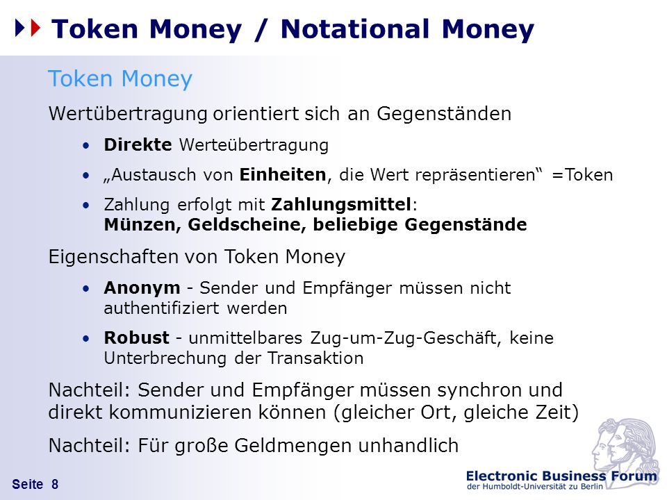 Token Money / Notational Money