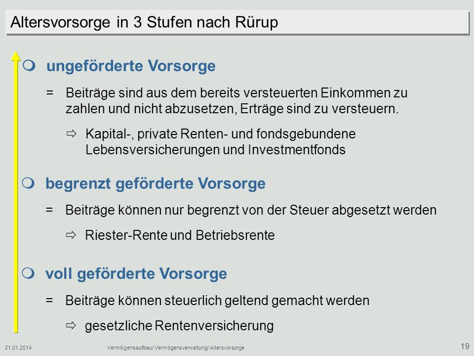 Altersvorsorge in 3 Stufen nach Rürup