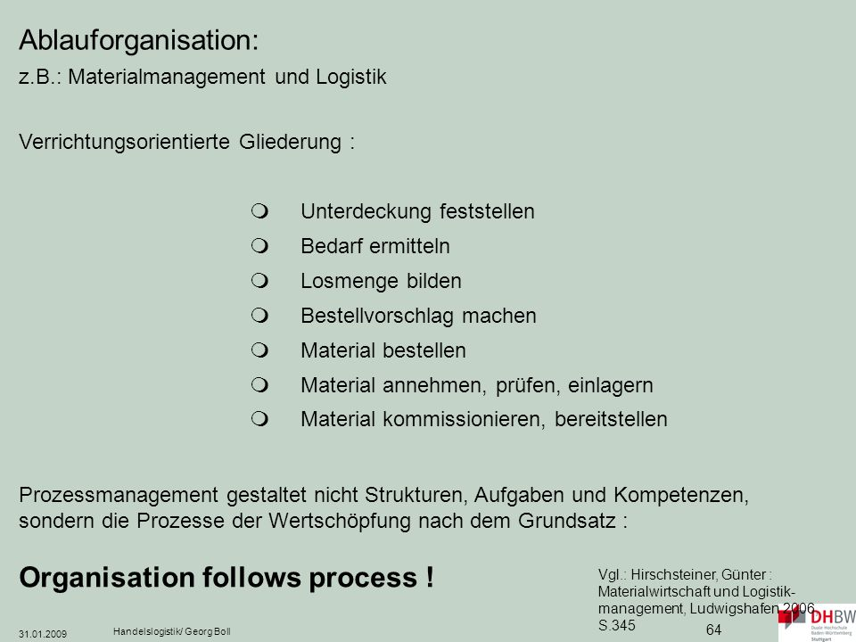 Ablauforganisation: z.B.: Materialmanagement und Logistik