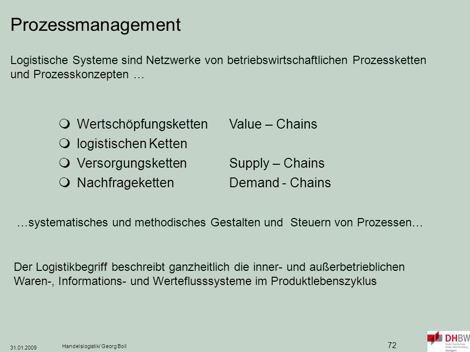 Prozessmanagement  Wertschöpfungsketten Value – Chains