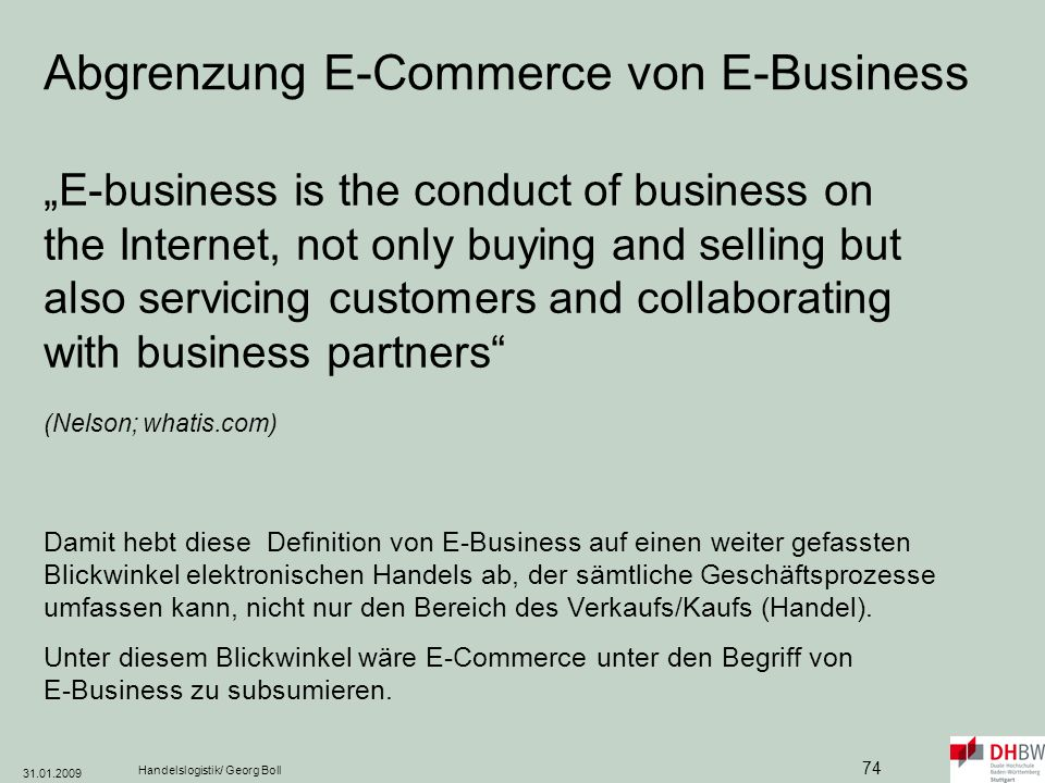 Abgrenzung E-Commerce von E-Business
