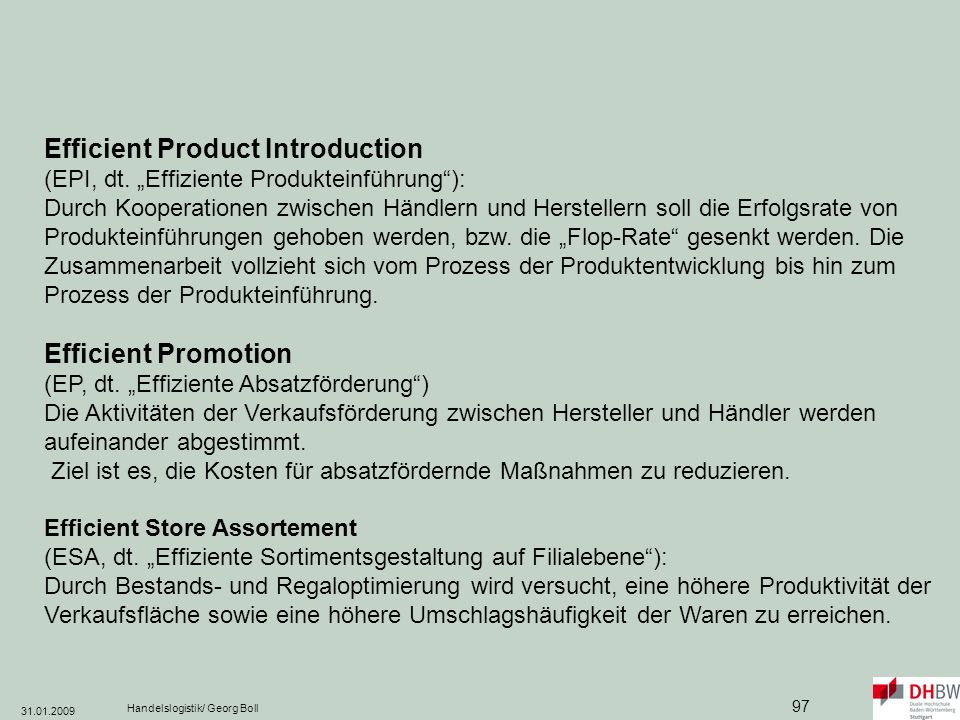 Efficient Product Introduction (EPI, dt
