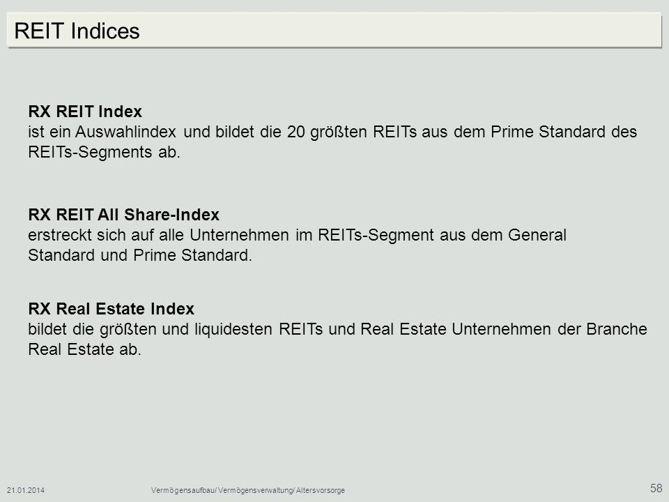 REIT Indices RX REIT Index