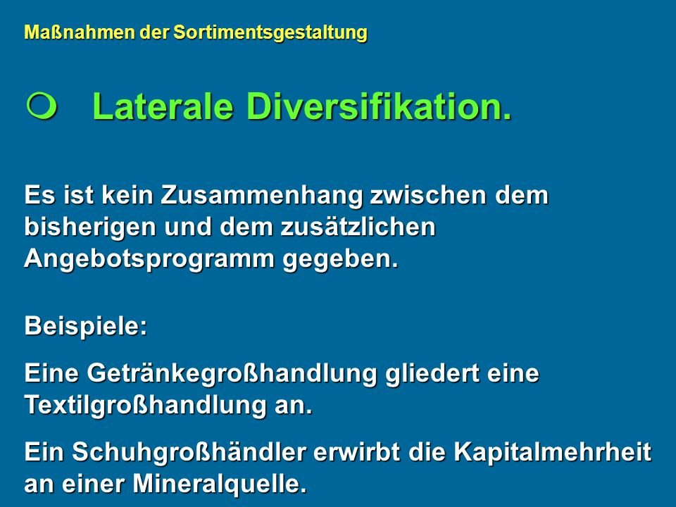  Laterale Diversifikation.