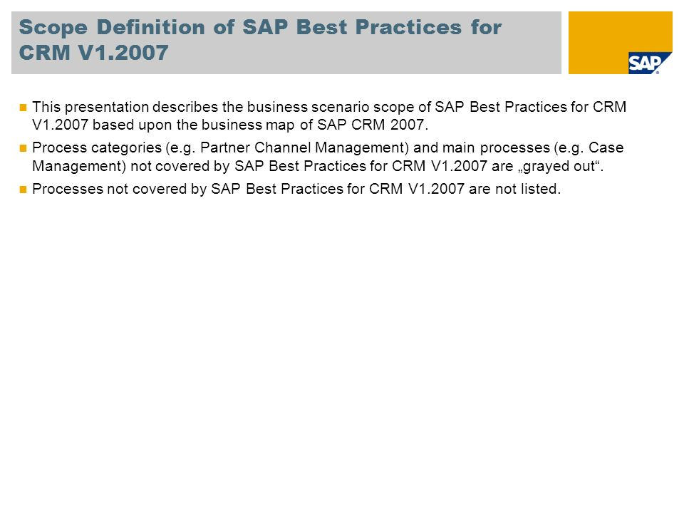Scope Definition of SAP Best Practices for CRM V1.2007