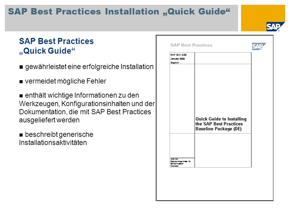 "SAP Best Practices Installation ""Quick Guide"